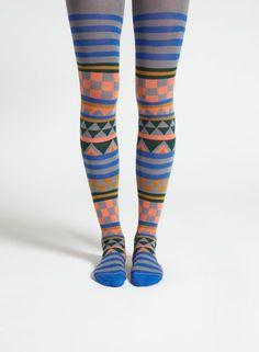 Pobo-sukkahousut (harmaa, sininen, koralli) |Asusteet, Sukat ja sukkahousut, Laukut & asusteet | Marimekko