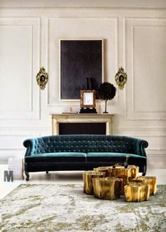 Room Decor Ideas: a living room design by Boca do Lobo. The room is full of light and tha gold wall lamps and side table and the green velvet sofa. My Living Room, Home And Living, Living Room Furniture, Home Furniture, Living Room Decor, Furniture Design, Modern Living, Furniture Ideas, Furniture Online