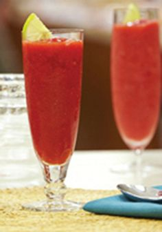 Strawberry-Lemonade Frappe -- Party-ready in just 5 minutes, this easy recipe is sure to be the star at your next dinner party.