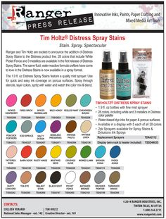 Watch as Tim shows his new distress spray stain! 24 colors, 3 metallics and picket fence! $5.99