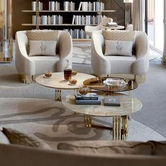 Gold coffee tables with marble or glass tops. See all our polished gold furniture. Table Furniture, Living Room Furniture, Living Room Decor, Furniture Design, Brass Coffee Table, Coffee Table Design, Design Tisch, Sofa Design, Centre Table Design