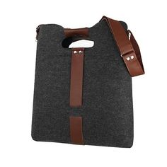 CLASSIC felt bag - Purol Design  CLASSIC is a hand-made bag of gray felt and brown leather, fastened with a zip.