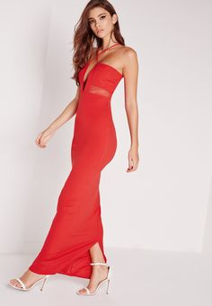 Missguided - Cross Strap Mesh Insert Maxi Dress Red