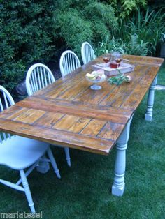 Large Shabby Chic Rustic Farmhouse HARDWOOD Kitchen Dining Table EXTENDING  8 5ft   eBayPainted cream Corona dining table   Dining room   Pinterest  . Shabby Chic Dining Room Table Ebay. Home Design Ideas