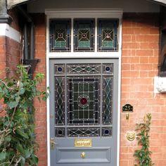 Victorian Door and Fanlight - External view Victorian Front Doors, Stained Glass Door, Glass Front Door, Glass Design, Entrance, Garage Doors, Outdoor Structures, Homes, Google Search