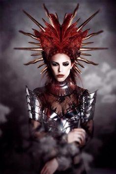 be Fashion designer divamp couture Warrior Queen, Warrior Princess, Gothic Fashion, Fairytale Fashion, Dark Fashion, Medieval Clothing, Red Queen, Big Hair, Headgear