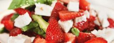 Asparagus salad with strawberries and feta cheese