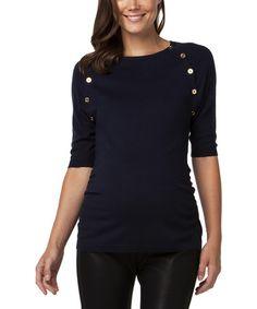 Look at this #zulilyfind! Navy Button Hepburn Maternity Sweater #zulilyfinds