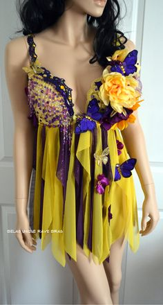 Purple and Yellow Flower Fairy Babydoll Dress Bra Costume Cosplay Dance Rave Halloween Burlesque Show Girl