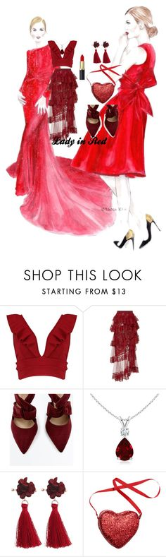 """""""Lady in Red"""" by mariposa25 ❤ liked on Polyvore featuring Boohoo and Elie Saab"""