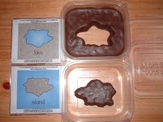Make lakes, islands, peninsulas and more with these land cards, plastic containers and plasticine or dough.