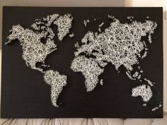 Map of the world string art ed coffee cafe diy pinterest world map in string art string art world map gumiabroncs Choice Image