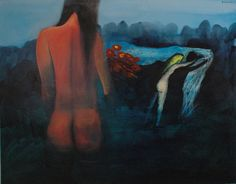 Charles Blackman, Australia (1928 - 2018) • Red Nude In A Landscape c.1972 • Oil on canvas • Public subscription purchase to mark the opening of the first floor extensions 1971 • 1293 #CharlesBlackman #paintings #art Australian Painters, Asian Art, Metal Working, Oil On Canvas, Extensions, Contemporary Art, Public, Nude, Floor