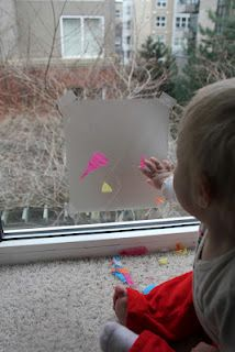 SUPER Easy Toddler Art- Contact Paper Collage
