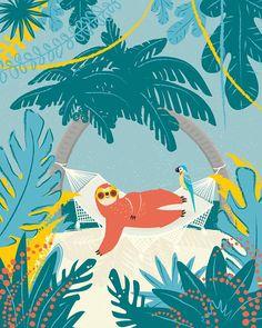 Sloth on Hammock Art Print Jungle Illustration, Botanical Illustration, Pretty Art, Cute Art, Animal Graphic, Mural Art, Art Inspo, Art Drawings, Tropical