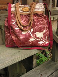 Curious Bird Tote /Handmade /Diaper Bag / by LBArtworks on Etsy, $79.00