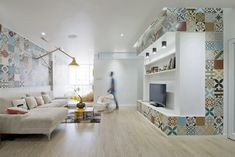 contemporary Living Room with a mix of colorful Moroccan Tiles
