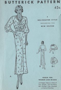 Butterick 5033 | 1930s Frock for Women and Misses with raglan sleeves