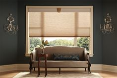 """Cordless Cellular Shades in 3/8"""" Single Cell: Scroll, Taupe 1307; 51/2"""" Regal Wood Cornice in Antique Whiite 1026 and Keystone in Golden Oak 1030."""