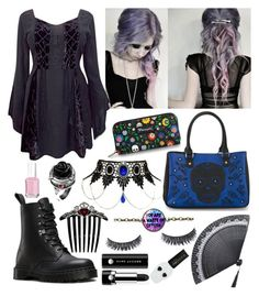 """""""Pastel Goth?"""" by madame-taylor ❤ liked on Polyvore featuring Dr. Martens, Loungefly, Marc Jacobs and Essie"""