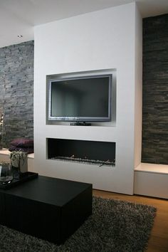Living Room with Fireplace That Will Warm you All Winter It's winter. I think you'll need fireplace to warm you and your family. Here is best design you can apply to your home, this winter or next. Tv Above Fireplace, Linear Fireplace, Simple Fireplace, Modern Fireplace, Fireplace Design, Wall Mount Electric Fireplace, Fireplace Ideas, Living Room Tv, Living Room With Fireplace