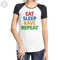 Female Eat Sleep Rave Repeat Cotton Short Sleeve Raglan Shirts Medium (*Amazon Partner-Link)