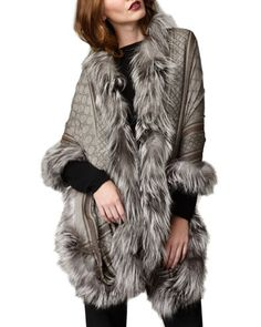 GG Pattern Fur-Trim Stole by Gucci at Neiman Marcus. Trent Coat, Faux Fur Wrap, Gucci Scarf, Fall Outfits, Fashion Outfits, Designer Scarves, Fur Trim, Womens Scarves, Autumn Winter Fashion