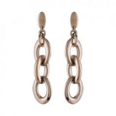 Boucles d'oreilles pendantes en acier et PVD rose chaînette de 3 gros maillons et fermoir tige à poussette