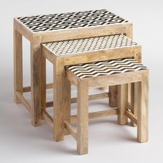 Our trio of nesting tables feature an eye-catching geometric design made of small pieces of bone inlay handcrafted by artisans in India. Group them to create a dynamic statement, or situate them throughout your home to create a subtle, tied-together look.