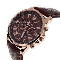 Armbanduhr damen leder braun  Sale Preis: JSDDE Uhren,Eelgant Genf Damen Herren Armbanduhr ...