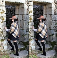 Pretty-Roxanne Stratmains ☥ - Fashionmia Black And Brown Poncho, Public Desire Black Thigh High Boots - Nobody told me