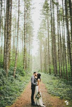 Bride and groom photography in the woods for a mountain wedding!