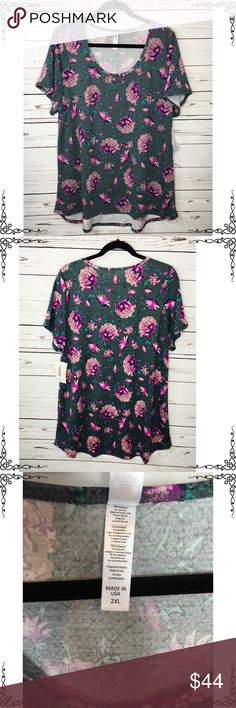 LuLaRoe Classic T Shabby Chic Roses Flowers 2XL Brand new with tags. Beautiful floral pattern. Classic T by LuLaRoe. Size is 2XL.  No trades. Fast shipping. LuLaRoe Tops Tunics