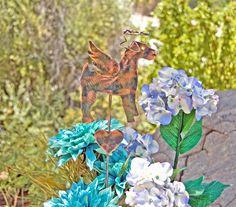 Terrier Stake / Airedale Terrier / Wire Haired Fox Terrier / Metal Yard Art / Pet Memorial / Copper Art / Angel Decoration / Yard Art