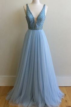 Light Blue Deep V Neck A Line Long Prom Dresses Evening Gowns LD107