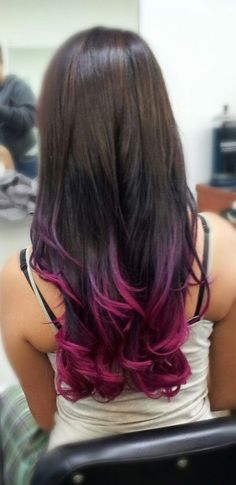 Pink & Purple Ombre I'm in love!! If my ends weren't so dead I'd definitely do this