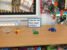 Voting for carpet activities. British Values Display Eyfs, British Values Eyfs, Eyfs Activities, Creative Activities, Educational Activities, Classroom Organisation, Classroom Design, Classroom Layout, Classroom Displays