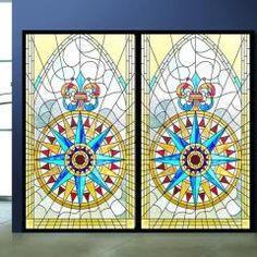 Church colored frosted window film decorative stained glass sticker self adhesive or static cling can do custom size 311