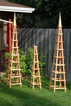 wooden trellis | Wood Obelisk Garden Trellis. If I have a small yard. Morning glories ...