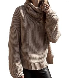 Women's Loose Cowl Neck Chunky Cable Knit Pullover Top Sweater Jumper
