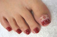 Here I have 15 Christmas toe nail art designs, ideas & stickers of Get the glimpses of these awesome Xmas nails and do revert us with your feedback. Pedicure Nail Art, Toe Nail Art, Red Pedicure, Nail Art Designs, Pedicure Designs, Pedicure Ideas, Love Nails, Pretty Nails, How To Do Nails
