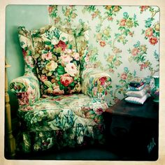 Floral Chair and wallpaper-delightful.