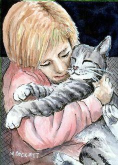 ACEO Original Painting Child Cuddling Cat kids children pets kitten animals  #Impressionism