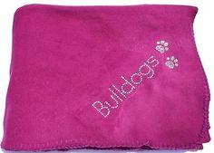 1+NEW+Bling+BULLDOGS+&+Paw+Print+Fleece+Throw+~+Fuschia+Blanket+~+Great+for+Dogs $38.95