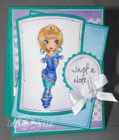 Copic markers (Skin: E00/E21/E34/E93/E95/BV02; Eyes: B12/B26; Hair: Y11/Y21/YR24/E97 (sepia multiliner); Pink Shirt:RV52/RV66; Purple Shirt: BV11/BV13/BV29; Sweater/Socks:B60/B63/B66/B69; Skirt/Earrings:BG11/BG53/BG57/BG49; Jeans:B41/B45/B99; Lips:R22/R29)