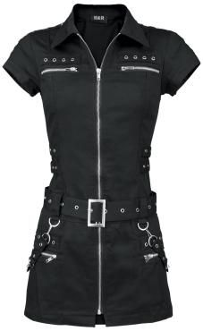 Black Zip Dress - Kurzes Kleid von H&R London