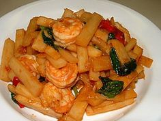 Young coconut stir fries with shrimps