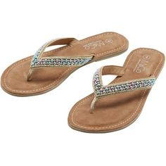 M&Co Beaded Flip Flops (85 BRL) ❤ liked on Polyvore featuring shoes, sandals, flip flops, gold, special occasion shoes, summer flip flops, beaded flip flops, summer sandals and gold shoes