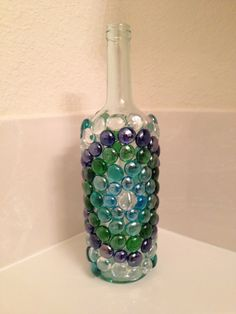 Blue and Green Glass Beaded Wine Bottle  Lit by Glassmadebeautiful, $25.00