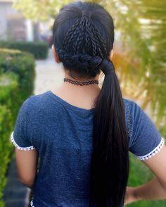 By @PrettyHStyle3029 #peinado #hairstyle #trenza #braids #ponytail #trenzado #longhair